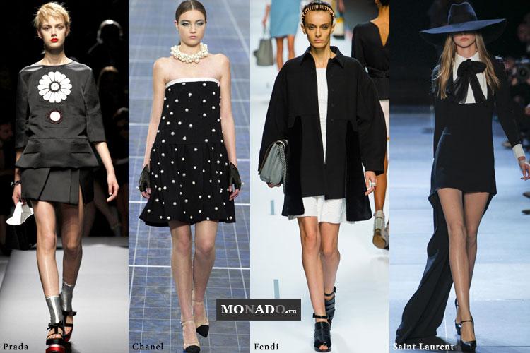 Тренды весенне-летнего сезона 2013 - сочетание белых и черных цветов в одежде